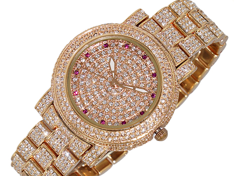ROSE -TONE , AUSTRIAN STONES, 3-HAND DIAL - AK2009-LRG, RETAIL AT (MSRP: $345.00)