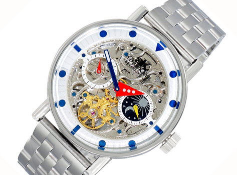 Skeleton Automatic -21 Jewels Movement , Sun and Moon Phase, AK2266-10_SV, Retail at $750.00