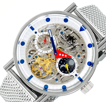 Skeleton Automatic -21 Jewels Movement , Sun and Moon Phase, AK2266-10SV-MESH, Retail at $750.00
