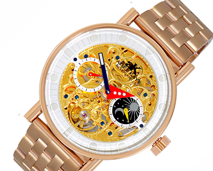 Skeleton Automatic -21 Jewels Movement , Sun and Moon Phase, AK2266-40_RG, Retail at $750.00