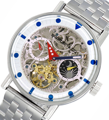 Skeleton Automatic -21 Jewels Movement , Sun and Moon Phase, LCBC3331-SV, Retail at $750.00