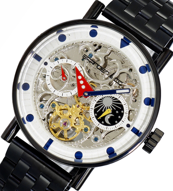 Skeleton Automatic -21 Jewels Movement , Sun and Moon Phase, LCBC3333-IPBK, Retail at $750.00