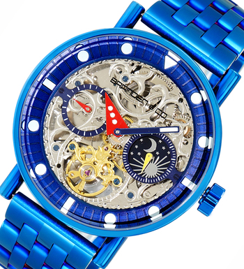 Skeleton Automatic -21 Jewels Movement , Sun and Moon Phase, LCBC3334-IPBU, Retail at $750.00