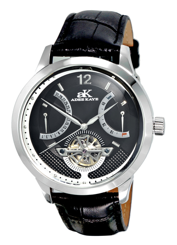 SKELETON DIAL , 38 JEWELS AUTOMATIC MOVEMENT, GENUINE LEATHER BAND, AK2241-MBK, RETAIL PRICE AT $725.00