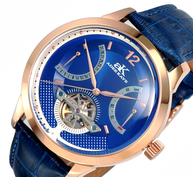 SKELETON DIAL , 38 JEWELS AUTOMATIC MOVEMENT, GENUINE LEATHER BAND, AK2241-MRGBU, RETAIL PRICE AT $725.00