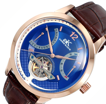 SKELETON DIAL , 38 JEWELS AUTOMATIC MOVEMENT, GENUINE LEATHER BAND, AK2241-MRGBU-BN, RETAIL PRICE AT $725.00