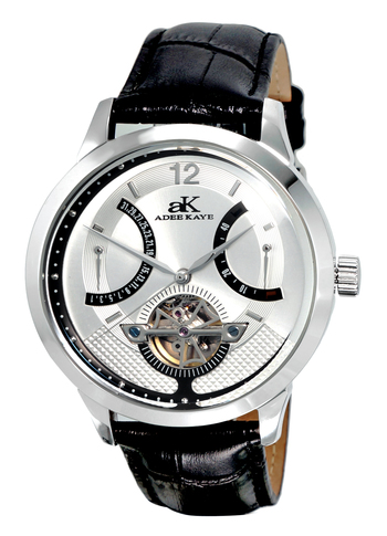 SKELETON DIAL , 38 JEWELS AUTOMATIC MOVEMENT, GENUINE LEATHER BAND, AK2241-MSV, RETAIL PRICE AT $725.00