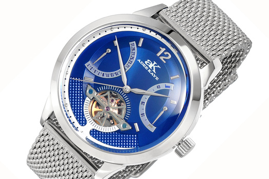 SKELETON DIAL , 38 JEWELS AUTOMATIC MOVEMENT, MESH BAND, AK2241-MBU-MESH, RETAIL PRICE AT (MSRP: $825.00)