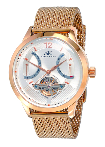 SKELETON DIAL , 38 JEWELS AUTOMATIC MOVEMENT, MESH BAND, AK2241-MRG/BU-MESH, RETAIL PRICE AT $825.00