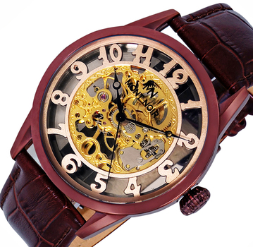 Skeleton hand winding 17 Jewels movement , Genuine leather band, MN3334-MIPBN, Retail at $600.00