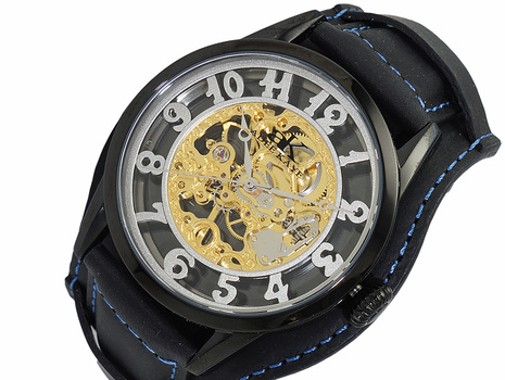 Skeleton Mechanical Movement -17 Jewels , Stainless Steel, AK2296-MIP/BK-WIDE , RETAIL AT (MSRP: $600.00)
