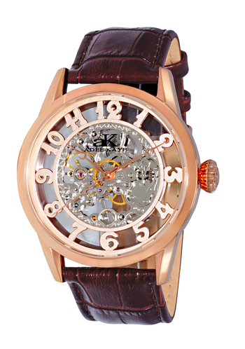 Skeleton Mechanical Movement -17 Jewels , Stainless Steel, AK2296-MRG, RETAIL AT $600.00.