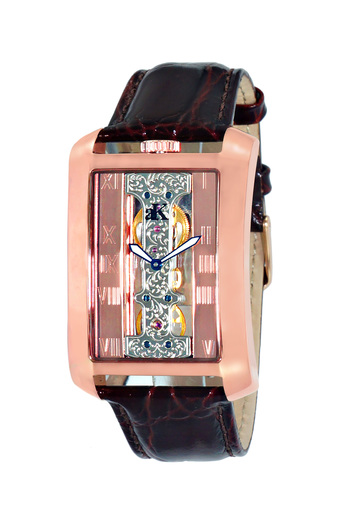 Skeleton Mechanical Movement, Genuine Leather Band, AK7171-MRG - Retail at $700.00