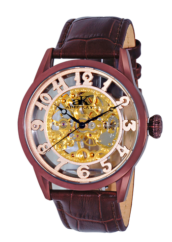 SkeletonMechanical Movement -17 Jewels , Stainless Steel, AK2296-IPBN, RETAIL AT $600.00.