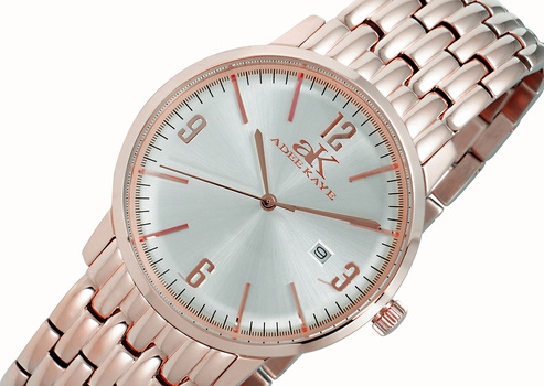 STAINLESS STEEL, DOME MINERAL CRYSTAL, MIYOTA QUARTZ MOV'T., ADEE KAYE AK8224-MRGSV - RETAIL AT (MSRP: $345.00)