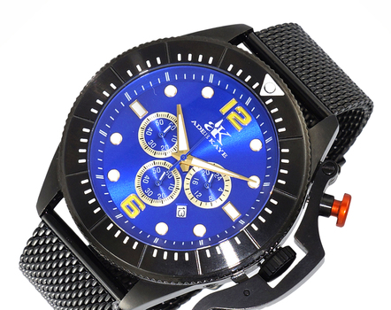 STAINLESS STEEL, DOME MINERAL CRYSTAL, MIYOTA QUARTZ MOV'T. MESH BAND,  AK9041-IPBBU-G/MESH- - RETAIL AT (MSRP: $690.00)