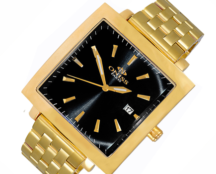 STAINLESS STEEL GOLD TONE, DATE DIAL, ON4444-MBG/BK - RETAIL AT $ 375.00