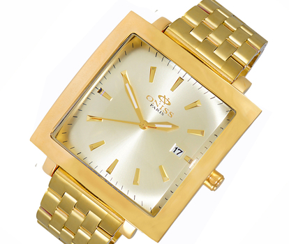 STAINLESS STEEL GOLDTONE, DATE DIAL - ON4444-MGG. RETAIL AT $ 375.00