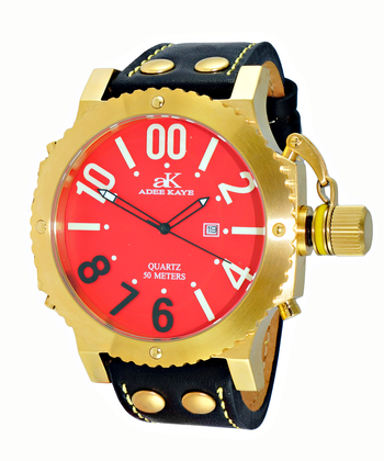 SUPER LUMINOVA DIAL WITH CROWN PROTECTOR, GENUINE LEATHER BAND, AK7211-MG/RD - RETAIL AT $445.00