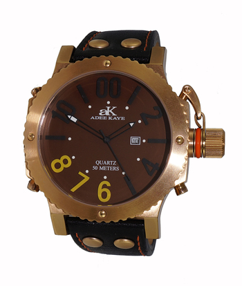 SUPER LUMINOVA DIAL WITH CROWN PROTECTOR, GENUINE LEATHER BAND, AK7211-MRG-BN/BK - RETAIL AT $445.00