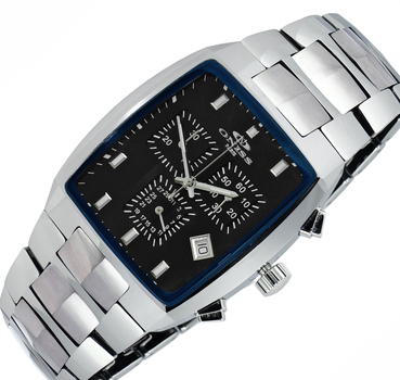 SWISS CHRONOGRAPH MOVEMENT, HIGH-TECH CERAMIC AND TUNGSTEN CASE AND BAND ON5900-40BK-BU -  RETAIL AT $745.00