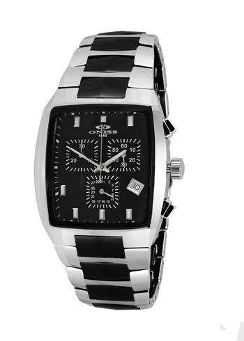 SWISS CHRONOGRAPH MOVEMENT, HIGH-TECH CERAMIC AND TUNGSTEN CASE AND BAND ON5900-50_BK -  RETAIL AT $745.00