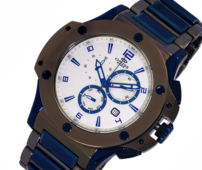SWISS CHRONOGRAPH MOV'T. HIGH-TECH CERAMIC AND STAINLESS CASE AND BAND, ONISS ON612-TB-SV - RETAIL AT $1200.00