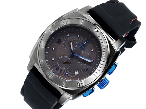 SWISS CHRONOGRAPH MOV'T, STAINELESS STEEL,   ON614-MT-HRG/RBBK - RETAIL AT (MSRP: $725.00)