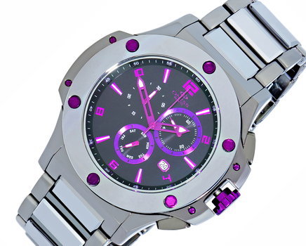 Swiss Chronograph Tungsten & Stainless Steel Watch-Silver tone/Black-purple dial,  ON612-113PU -RETAIL AT $1,200.00