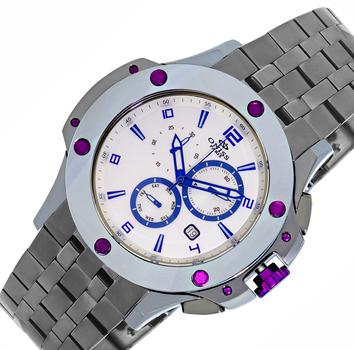 Swiss Chronograph Tungsten & Stainless Steel Watch-Silver tone/White-blue dial,  ON612-PUSVBU-IPGUN -RETAIL AT $1,200.00