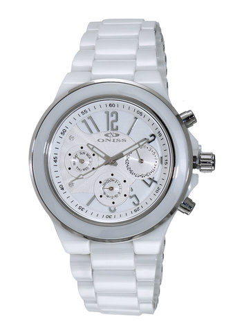 SWISS  ISA MULTI-FUNCTION, DAY-DATE SUB DIAL, HIGH-TECH CERAMIC, AUSTRIAN CRYSTAL ACCENT, ON2427-10_LWT RETAIL AT $495.00