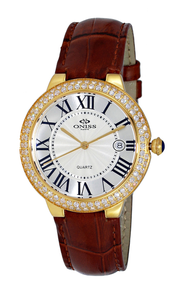 SWISS MOVEMENT, AUSTRIAN CRYSTAL ACCENT, GENUINE LEATHER BAND, DOME CRYSTAL, ON3322-LGWT, RETAIL AT - $495.00