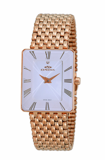 SWISS MOVEMENT, FACETED CRYSTAL ACCENT, ON4242-LRGWT - RETAIL AT $425.00