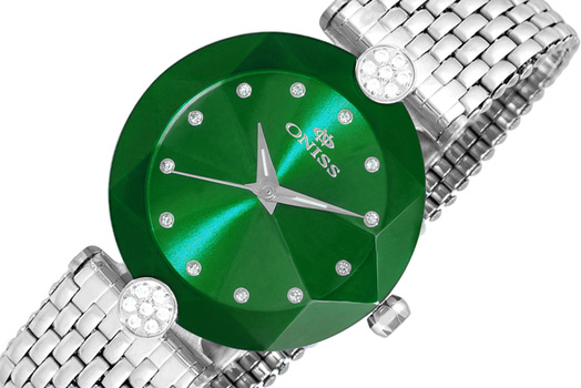 SWISS MOVEMENT  FACETED MINERAL CRYSTAL, ONISS ON8777-LGN, RETAIL AT (MSRP: $345.00)