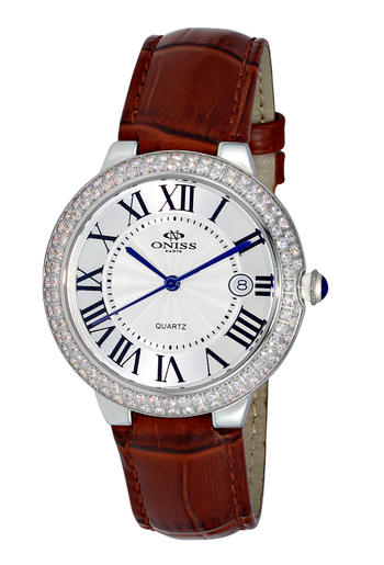 SWISS MOVEMENT, GENUINE LEATHER BAND, DOME CRYSTAL, ON3322-LWT