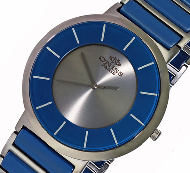 SWISS MOVEMENT, HIGH TECH CERAMIC AND STAINLESS STEEL CASE AND BAND, ON5555-11 (IPG/BU-GY) - RETAIL AT $795.00