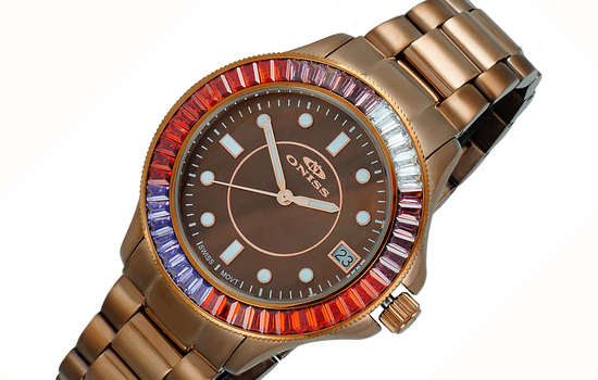 SWISS MOVEMENT, MULTI-COLOR AUSTRIAN CRYSTAL ACCENT, BROWN MOP DIAL,  ON7324-60_IPBN - RETAIL AT (MSRP:  $550.00)
