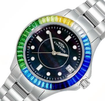 SWISS MOVEMENT, MULTI-COLOR AUSTRIAN CRYSTAL ACCENT, MOP DIAL,  ON7323-40_LBK-BUMCC- RETAIL AT $550.00