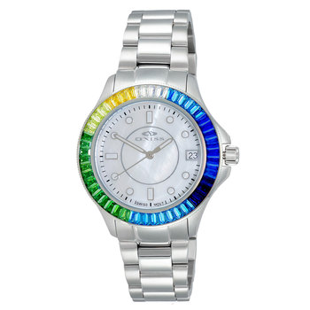 SWISS MOVEMENT, MULTI-COLOR AUSTRIAN CRYSTAL ACCENT, MOP DIAL,  ON7323-40_LWT-BUMCC- RETAIL AT $550.00