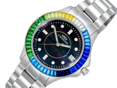 SWISS MOVEMENT, MULTI-COLOR AUSTRIAN CRYSTAL ACCENT, MOP DIAL,  ON7323-50BK-BUC - RETAIL AT (MSRP: $550.00)
