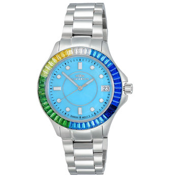 SWISS MOVEMENT, MULTI-COLOR AUSTRIAN CRYSTAL ACCENT, MOP DIAL,  ON7323-70LTBU-LTBUMC - RETAIL AT $550.00