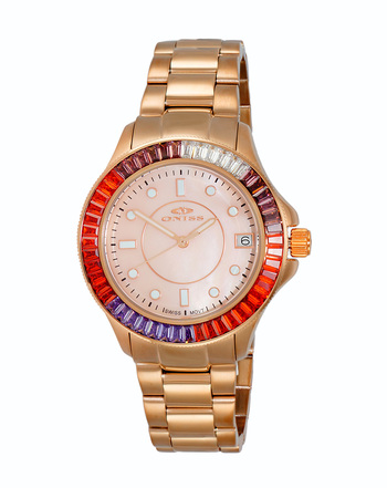 SWISS MOVEMENT, MULTI-COLOR AUSTRIAN CRYSTAL ACCENT, MOP DIAL,  ON7324-30_RGRG - RETAIL AT $550.00