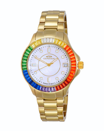 SWISS MOVEMENT, MULTI-COLOR AUSTRIAN CRYSTAL ACCENT, MOP DIAL,  ON7324-40_LGWT - RETAIL AT $550.00