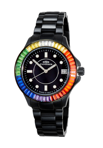 SWISS MOVEMENT, MULTI-COLOR AUSTRIAN CRYSTAL ACCENT, MOP DIAL,  ON7324-50_LIPBK - RETAIL AT $550.00
