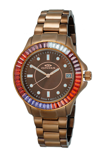 SWISS MOVEMENT, MULTI-COLOR AUSTRIAN CRYSTAL ACCENT, MOP DIAL,  ON7324-60_IPBN - RETAIL AT $550.00