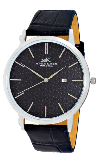 SWISS MOVEMENT, SLIM WATCH, GENUINE LEATHER BAND, AK3331-MBK - RETAIL AT $350.00