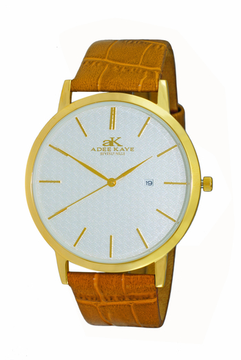 SWISS MOVEMENT, SLIM WATCH, GENUINE LEATHER BAND, AK3331-MG - RETAIL AT $350.0