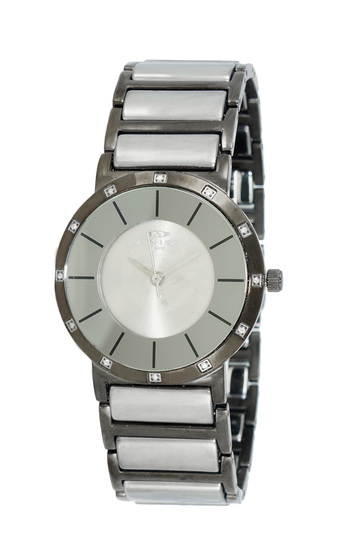 SWISS MOVEMENT, STAINLESS STEEL AND IP-GUN CASE AND BAND, ON1004-LIPGSV, RETAL AT $57.00