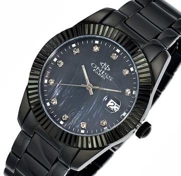 Swiss Movement, Tungsten and Stainless steel case and band, Mother of Pearl dial, ON6019-LIPB , Retal at $575.00