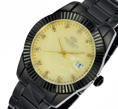 Swiss Movement, Tungsten and Stainless steel case and band, Mother of Pearl dial, ON6019-LIPB/YL , Retal at $575.00